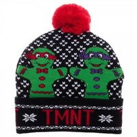 Teenage Mutant Ninja Turtles Cuff Pom Beanie Hat Holiday Ugly Sweater Style Tmnt