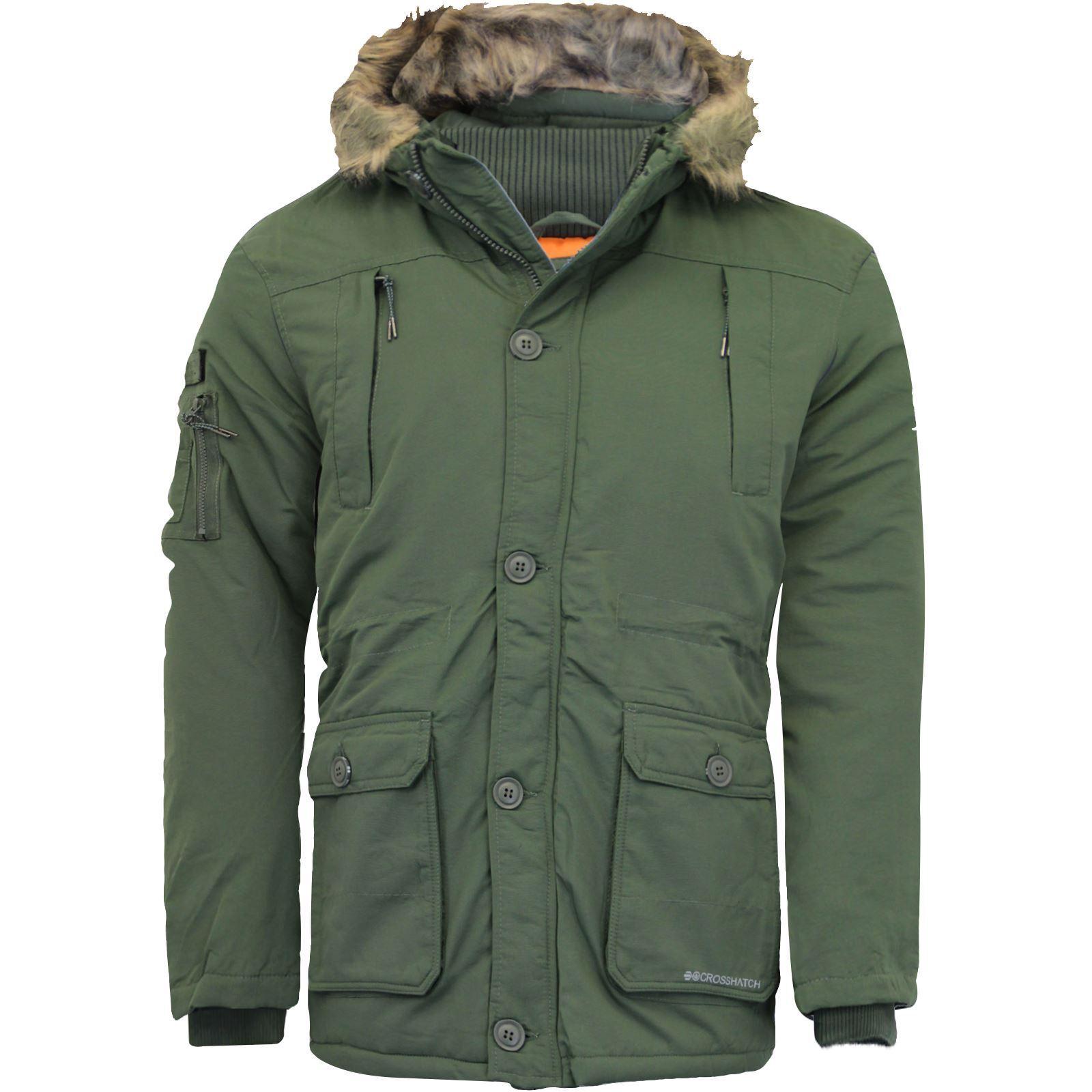 Weight Crosshatch New Hood Parka Coat Jacket Mens Winter Heavy Padded Brand Fur cF1JlK
