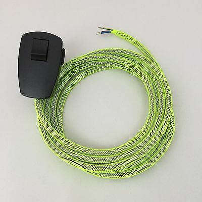 3x 3m Premium Textilkabel-Zuleitung Stoffkabel rot 2x0,75 mit Stecker Schalter