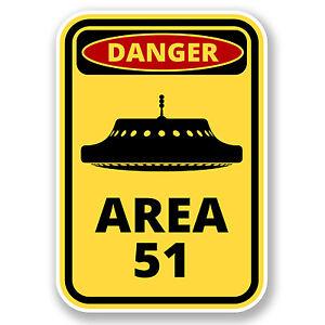 2 X 10cm Danger Area 51 Vinyl Sticker Laptop Car Ufo Alien