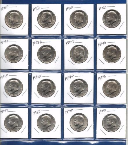 1971-1979 PD BU Uncirculated Kennedy Half Dollars-Lot of 16