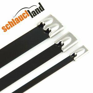 15Stk Edelstahl kabelbinder drahtband Schwarz 12mm breite 300mm länge