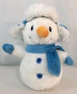 Aurora-Snowman-Blue-Hat-And-Scarf-Plush-Soft-Toy-Stuffed-Animal