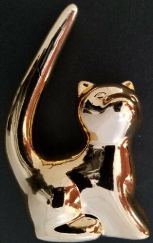 "Ceramic Gold Metallic Mirror Finish Cat Tail Ring Holders 4""H x 2.5""L x 1.3""D"