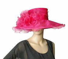 Eleganter Damenhut FUCHSIA pink Hut Brauthut Organzahut Hochzeit Pferderennen