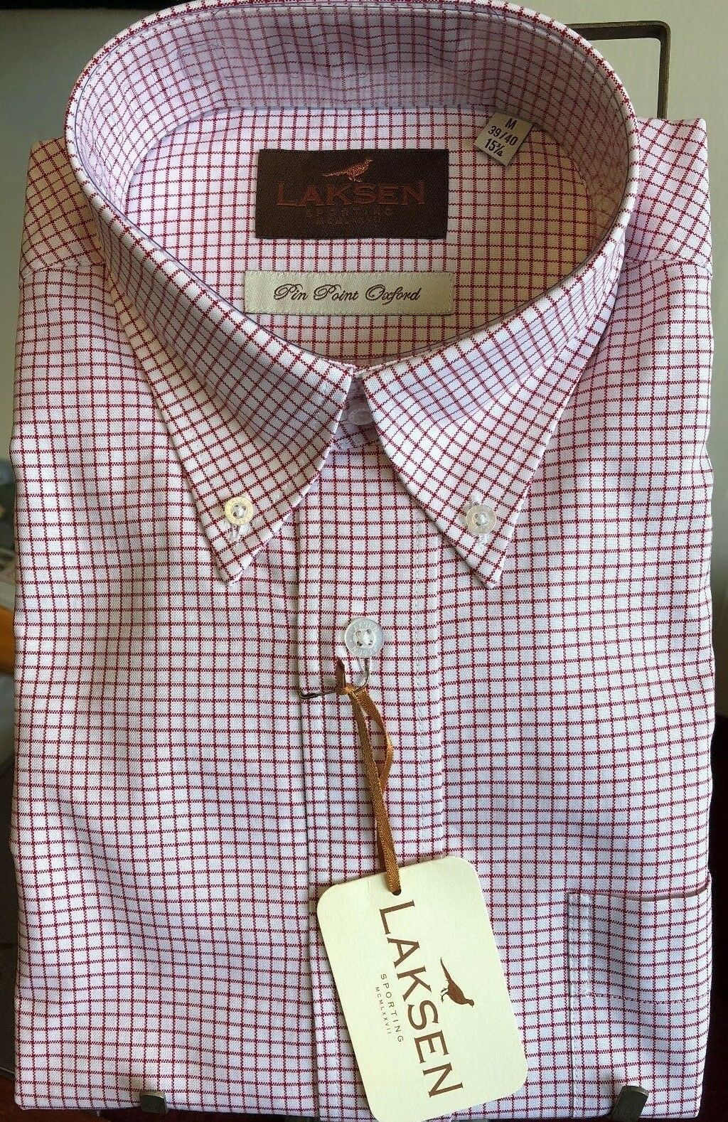 Mens Laksen Moore 100% Cotton Pin Point Oxford Button Down Shirt