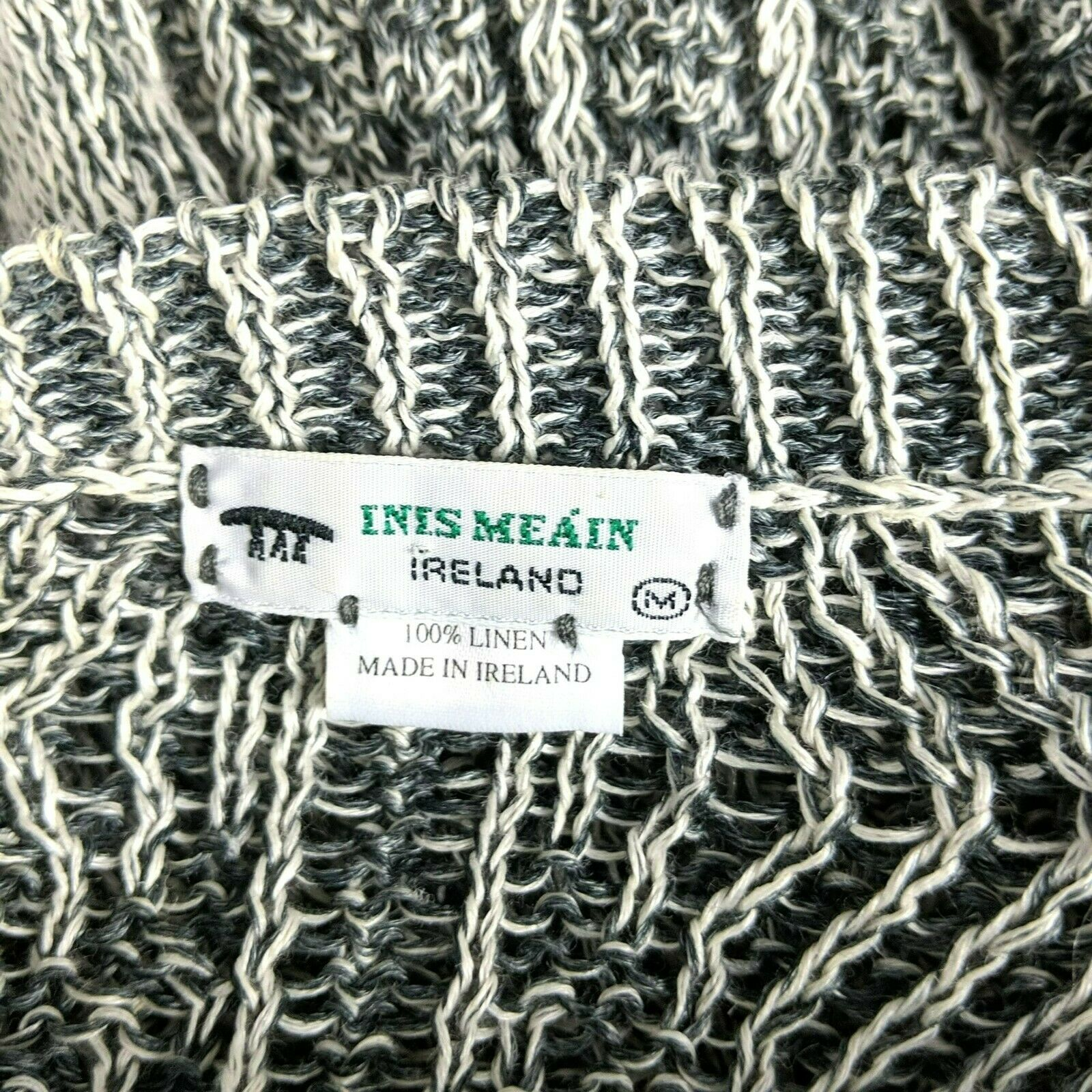 Inis Meain Gray Cream Linen Cable Knit Sweater Sz… - image 8