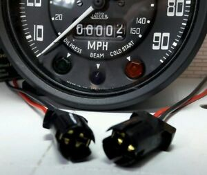 """Smiths 2"""" 52mm Oil Water Fuel Auxiliary Instrument Gauges E10 T10 Bulb Holder x2"""