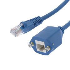 2 Ft CAT5e RJ45 Ethernet Network Screw Panel Mount Blue Extension Cable.
