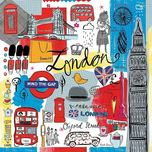 Farida Zaman  Global Travel III Keilrahmen-Bild Leinwand London Reise Collage