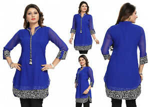Women-Blue-Fashion-Indian-A-Line-Kurti-Tunic-Kurta-Top-Shirt-Dress-SC1030