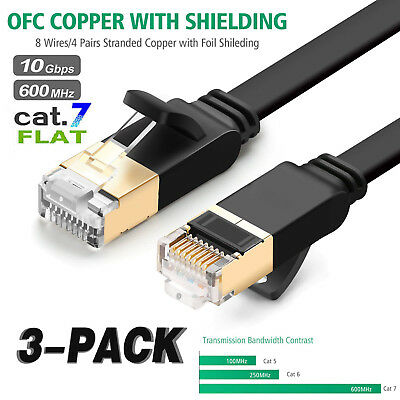 STP 10GB ULTRA-FAST Flat Lan Network Internet Cable Cord Lot 6FT Black CAT 7