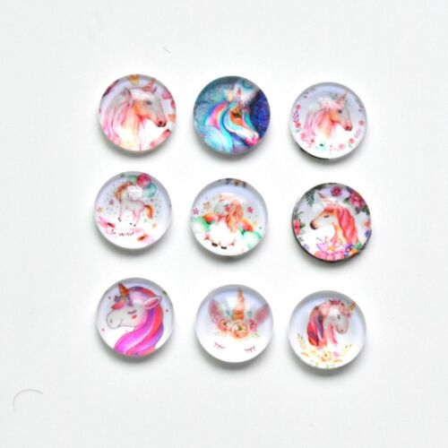20X 10X 14MM Sugar Skull//Butterfly//Lotus//Unicorn Round Glass Domed Cabochon