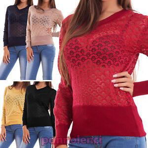 Maglione-donna-pullover-maglia-traforato-pizzo-scollo-V-elastico-nuovo-BL102