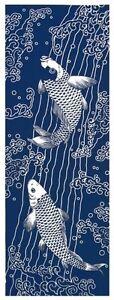 Japanese-Traditional-Hand-Towel-034-TENUGUI-034-90-x-35cm-Made-in-JAPAN-Carp-Fish
