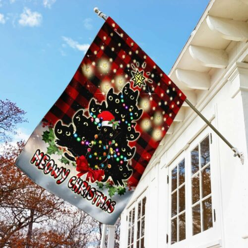 Meowy Christmas Flag Garden Fag Wall Flag House Flag