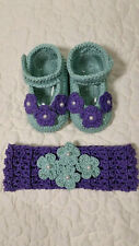 GAP Baby Girl Size 6-12 Months Purple Garter Stitch Knit Mary Jane Booties Shoes