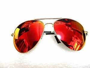 Red Lens Gold Frame Sunglasses : LARGE PREMIUM AVIATOR SUNGLASSES RED MIRROR LENS WITH GOLD ...