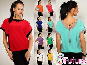 Elegant-Blouse-Top-Color-Combinations-Jumper-Jersey-Size-UK-8-12-FK78
