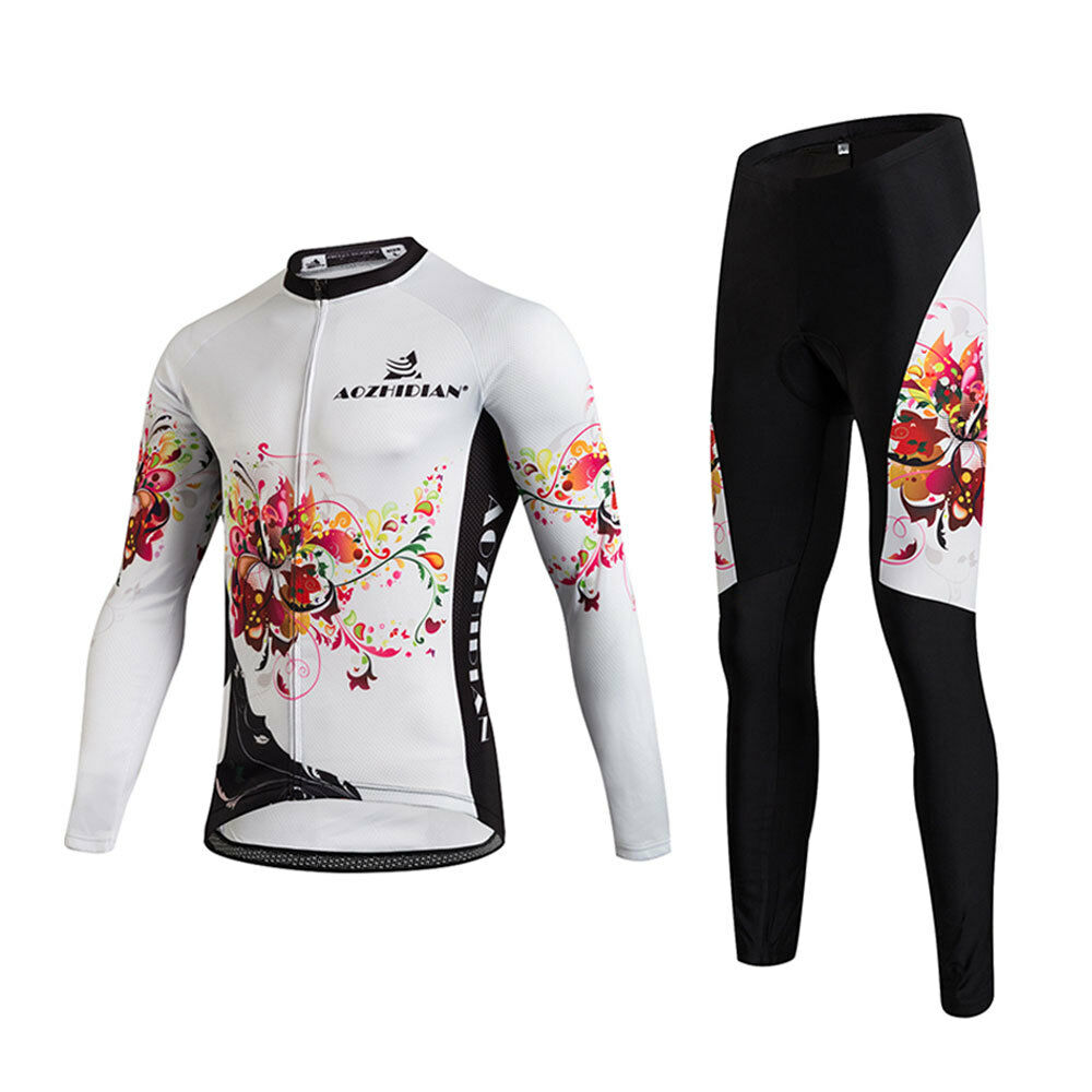 Long Sleeve Bike  Clothing Women's Biking Jersey Shirt and Padded Tight Pants Set  factory outlets