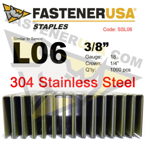 "1000 ct L Staples L06 Stainless Steel 18 gauge 1//4/"" crown-3//8/"" length"