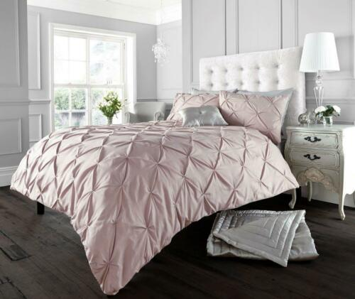 Luxury ALFORD PINTUCK Polycoton Duvet Cover With Pillowcases Single Double King