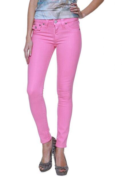 Size 24 True Religion Skinny Leg Jeans Pants Serena Glitter Coated Pink Barbie