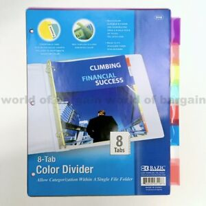 8 tab colored dividers 3 ring binder see thru plastic film file