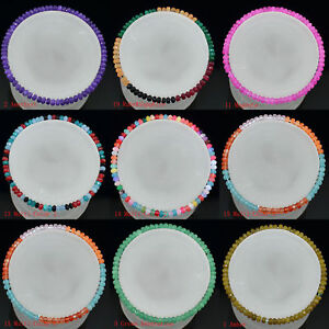 Faceted-2x4mm-Multicolor-Jade-Agate-Gems-Rondelle-Beads-Elastic-Bracelet-7-5-039-039