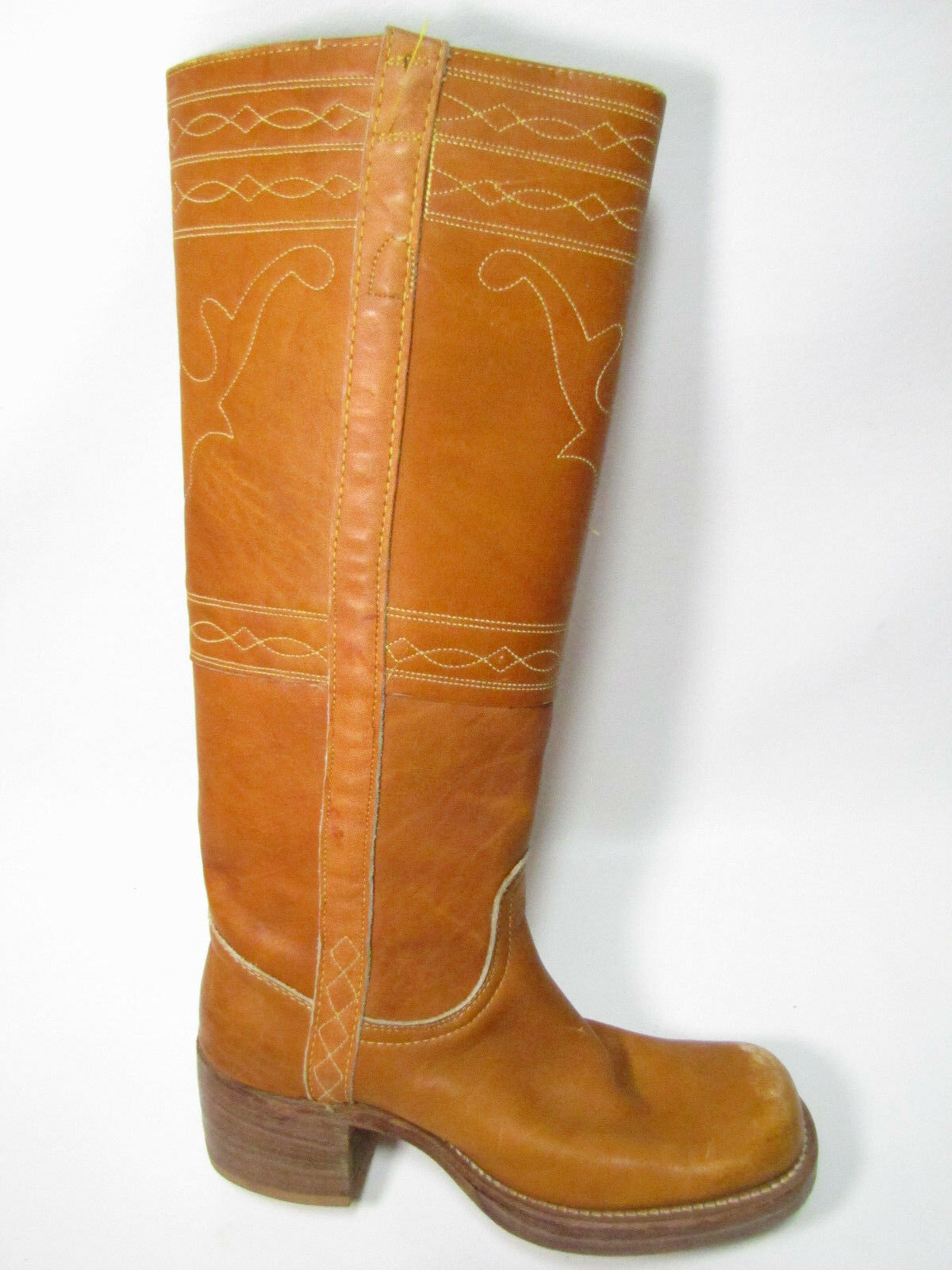 VTG 70s Frye Campus Tall Boots Stitched Brown Leather Hipster 8171 Sz 5 B