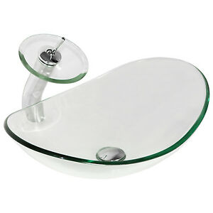 Oval Clear Glass Bathroom Vessel Sink & Waterfall Faucet Chrome Drain