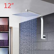 New 12'' Slim Square Bathroom Shower Head LED 3 Colors Ceiling Mounted gooseneck