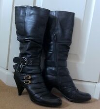 Bronx Black Platform Long Boots High Cuban Heels / Size UK 5 38