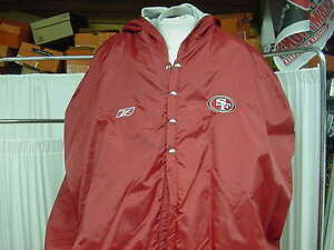 watch 9fe89 446de Details about NFL San Francisco 49ers Game Worn Reebok Sideline Player  Jacket Cape Size: Large