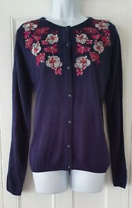 Womens-Country-Rose-Blue-Embroidered-Fine-Knit-Vintage-Landgirl-Style-Cardigan-M