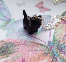 Black Cat Resin Pendant Charm SP Necklace 24'' Witch Halloween 3D