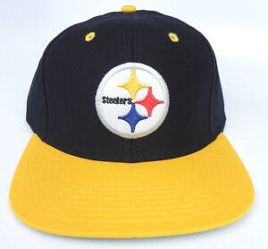 1b3d7c28644 Image is loading PITTSBURGH-STEELERS-NFL-VINTAGE-SNAPBACK-FLAT-BILL-RETRO-
