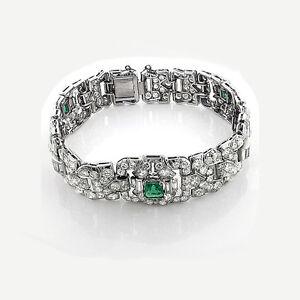 Armband-Diamanten-Smaragde-10-50-Karat-Platin-Top-Wesselton-F-feines-Weiss