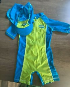 Mothercare Baby Blue & Lime Green All In One Swim Suit With Hat 6-12mths