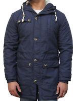 Mens Black Indigo Green Mid Length Parka Casual Winter Warm Duffle Coat Jacket