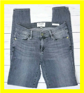 Frame-Denim-Size-25-Womens-Le-Skinny-De-Jeanne-Skinny-Jeans-26x28-Stretch-Gray