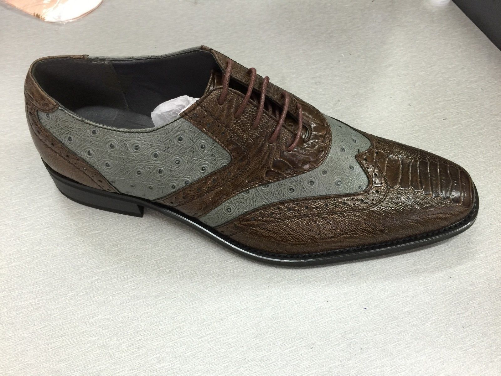 Gentleman/Lady Shoes Men's Wing-tip Design Dress Shoes Gentleman/Lady Animal/Ostrich/Alligator Print Brown/Gray 5750 sell Sales Italy Brand feast VW368 5bd5c8