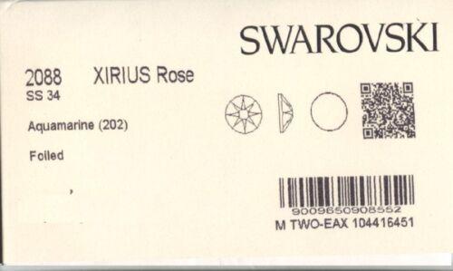 2088 SS34 AQ *** 8 STRASS SWAROVSKI FOND PLAT 7,2mm AQUAMARINE F