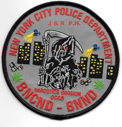 """fire shoulder police patch BNCND-BNND-Narcotics Division 4/"""" round size NY"""