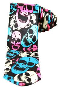 Neon-White-Blue-Pink-Skulls-Black-Neck-Tie