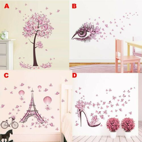 Removable Pink Butterfly Decals Vinyl Art Mural Wall Sticker Home Room Decor US