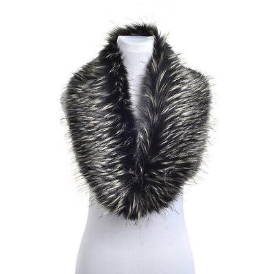 Ladies Fluffy Winter Faux Fur Christmas Teal Collar Scarf Shawl Wrap Stole