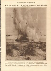 1916-ANTIQUE-PRINT-WW1-EASTERN-MEDITERRANEAN-BLOWING-UP-OLD-LIGHTERS