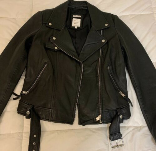 Zara Real Leather Biker Leather Jacket Black Size