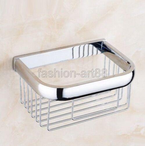 Bathroom Wall Mount Polished Chrome Brass Toilet Paper Roll Holder Basket fba535